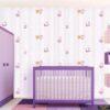 Pembe çizgili duvar kağıdı kedili beyaz Deco Kids 1113-01
